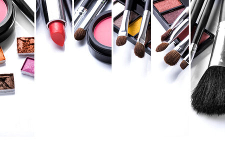 Foto de A portrait of make up and its various brushes, close up. with copyspace for your text - Imagen libre de derechos