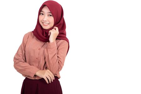 Photo pour muslim asian woman isolated - image libre de droit