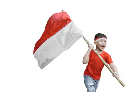 Photo pour kid waving indonesian flag on independence day celebration isolated - image libre de droit