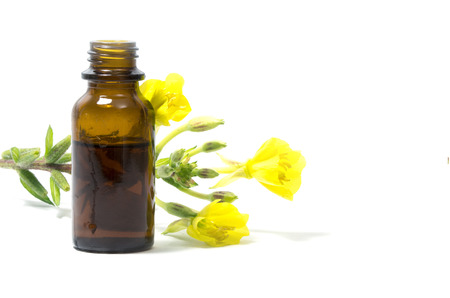 Foto de Yellow evening primrose (Oenothera biennis) flowers and a small bottle with oil, cosmetics and natural remedies for sensitive skin and eczema, isolated on a white background - Imagen libre de derechos