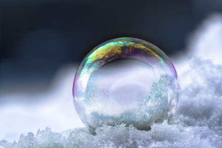 Foto de soap bubble with rainbow reflections in the snow, winter still life with dark background and copy space, selected focus - Imagen libre de derechos