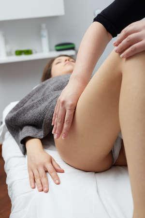Photo pour Female Enjoying Relaxing  Massage In Cosmetology Spa Center - image libre de droit