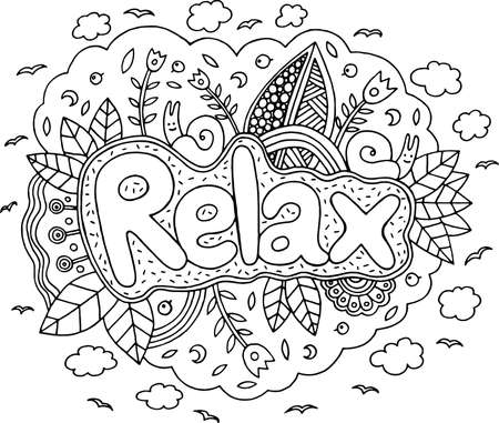 Illustrazione per Coloring page for adults with mandala and relax word. Doodle lettering ink outline artwork. Vector illustration. - Immagini Royalty Free