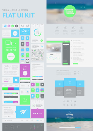 Photo pour flat UI kit for web and mobile, UI design, page website design template. All in one set for website design that includes one page website templates, and flat design concept illustrations. - image libre de droit