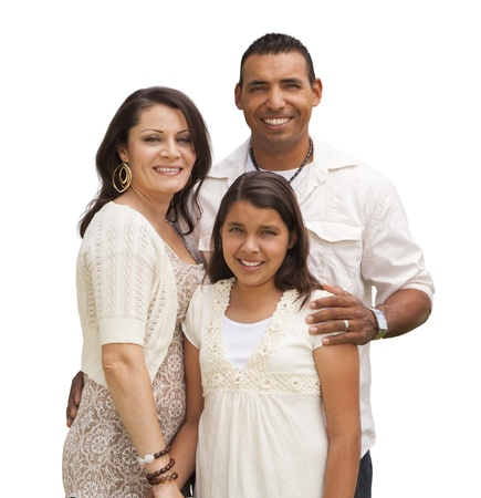 Photo pour Hispanic Mother, Father and Daughter Isolated on a White Background. - image libre de droit