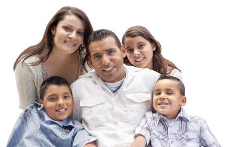 Foto de Happy Attractive Hispanic Family Portrait Isolated on a White Background. - Imagen libre de derechos