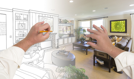 Photo for Male Hands Drawing Custom Living Room Design Gradating Into Photograph. - Royalty Free Image