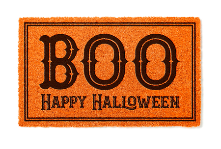 Photo for Boo, Happy Halloween Orange Welcome Mat Isolated on White Background. - Royalty Free Image