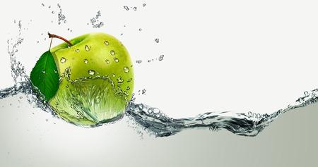 Photo for Green Apple amid splashing water. - Royalty Free Image