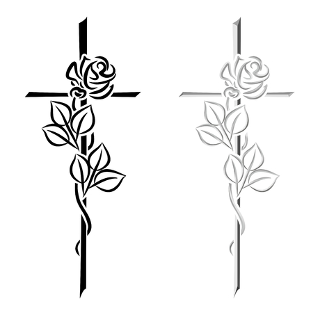 Photo for two illustrations of different crosses with roses - Royalty Free Image