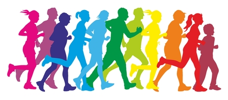 Photo pour illustration showing the silhouette of some runners - image libre de droit