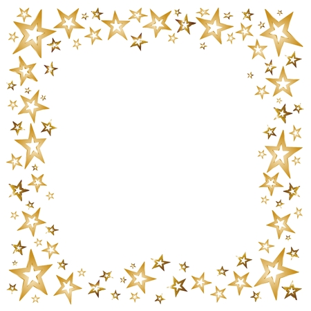 Illustration for christmas decoration with golden stars and shooting stars - Royalty Free Image