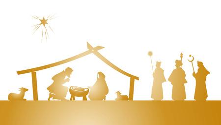 Foto de illustration of the christmas nativity play as silhouette - Imagen libre de derechos