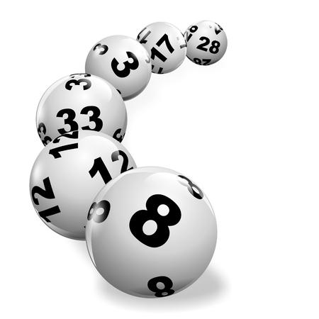 Foto de illustration of lottery balls rolling on a white surface - Imagen libre de derechos