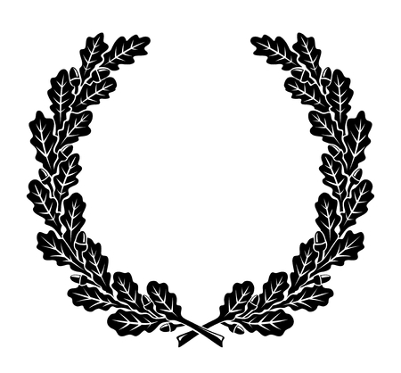 Illustration for a simplified wreath made of oak leaves - Royalty Free Image