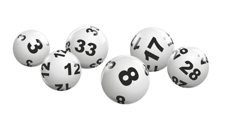 Foto de abstract illustration of dynamically rolling lottery balls - Imagen libre de derechos