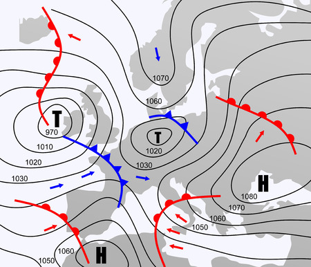 Illustration pour imaginary weather chart of Europe with isobars - image libre de droit