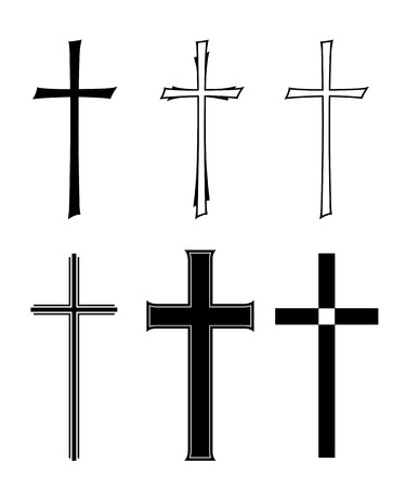 Photo for set with different designs of grave crosses - Royalty Free Image