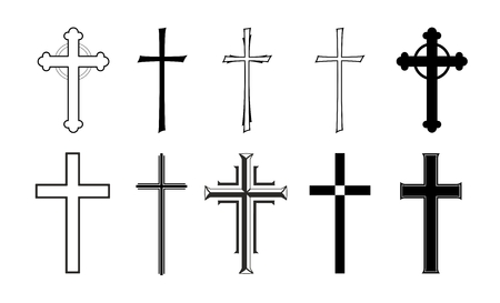 Illustration pour different designs of grave crosses for obituaries - image libre de droit