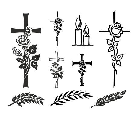 Photo pour set with decoration for tombstones or funerals - image libre de droit