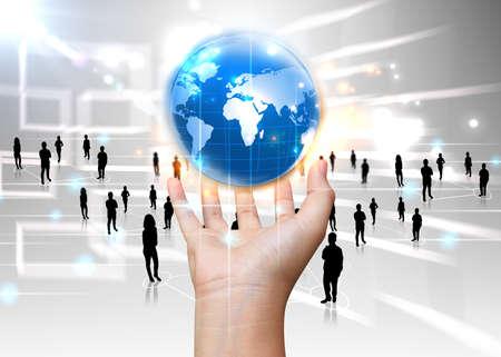 Photo pour hand holding business world  - image libre de droit