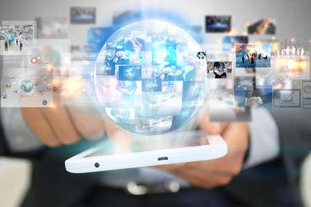 Photo pour Businessman holding social media concept. - image libre de droit
