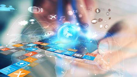Photo pour World map connected, social network, globalization business, social media, networking concept. - image libre de droit