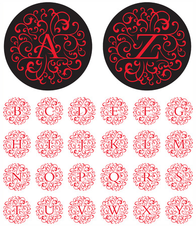 Illustration pour Elegant drop cap vector letters in circular swash patterns.  - image libre de droit
