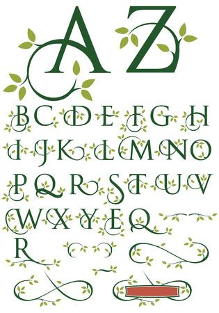 Ilustración de Ornate Swash Alphabet with Leaves - Imagen libre de derechos