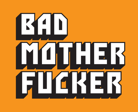 Illustrazione per Bad Mother Fucker Custom Vector Text. Pulp Fiction inspired hand drawn vector text of the words Bad Mother Fucker. - Immagini Royalty Free