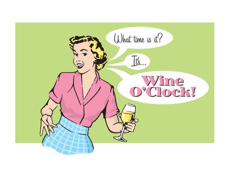 Ilustración de Vector illustration of sassy retro woman with wine glass - Imagen libre de derechos