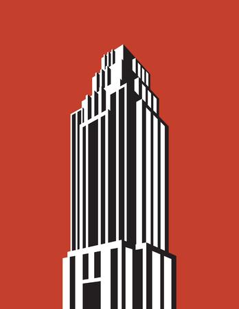 Ilustración de Skyscraper building vector illustration. Retro art deco style architectural building black and white design. - Imagen libre de derechos