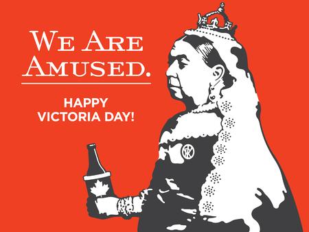 Ilustración de Queen Victoria We Are Amused Victoria Day Illustration. Victoria Day vector design of Queen Victoria holding a bottle of beer in a Canadian maple leaf coolie. - Imagen libre de derechos