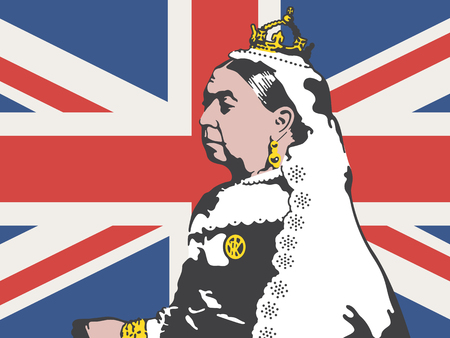Illustration for Queen Victoria Vector Illustration. Drawing of Victoria, the former queen of England against a background of the British Union Jack flag. - Royalty Free Image