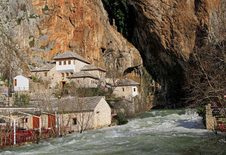 Photo for source of Buna river in the city Blagaj, Bosnia and Herzegovina - Royalty Free Image