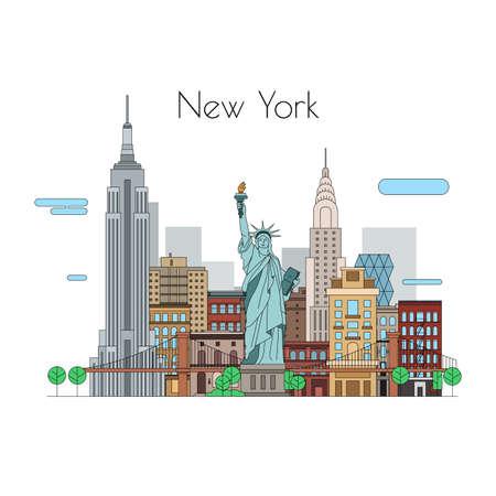 Illustration pour Vector city. Illustrations to travel. New York linear icons - image libre de droit