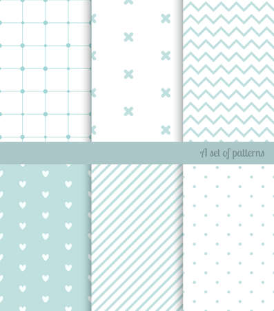 Illustration for Vector seamless retro mint patterns set - Royalty Free Image
