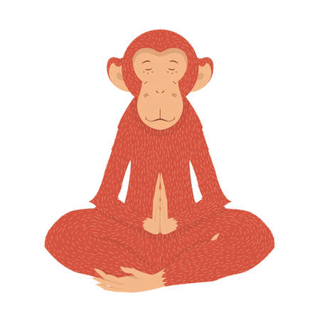 Illustration for Red Monkey in the lotus position in quiet meditation. illustration on a postcard - Royalty Free Image