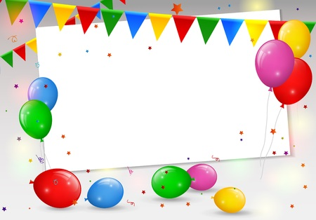 Illustration pour Birthday card with colorful balloons - image libre de droit