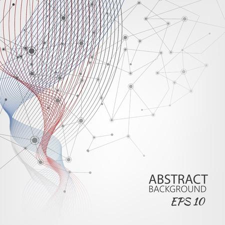 Ilustración de Abstract wave with molecules line background - Imagen libre de derechos