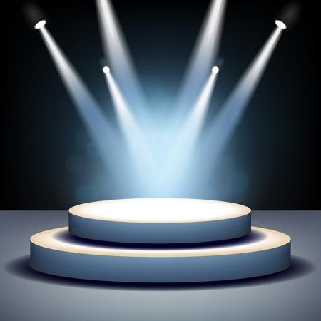Illustration pour Spotlight shining on empty stage - image libre de droit
