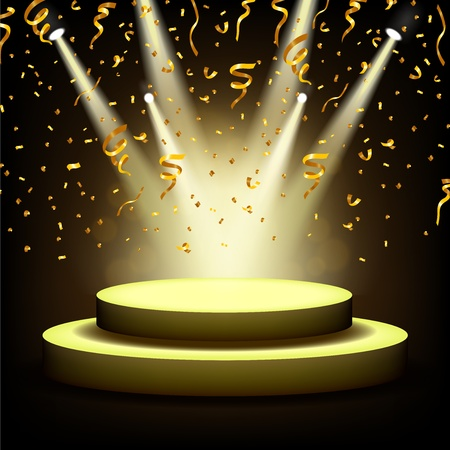 Illustration for Spotlight Shining On Empty stage with Gold confetti - Royalty Free Image