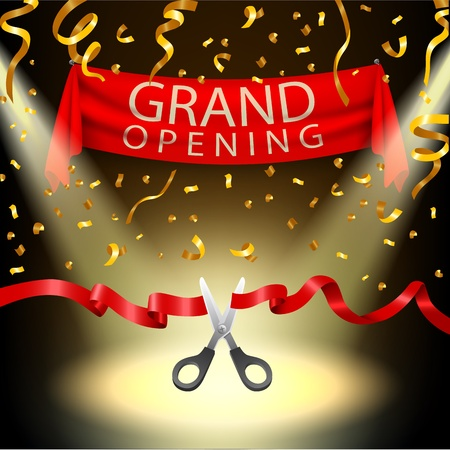 Illustration pour Grand opening background with spotlight and gold confetti - image libre de droit