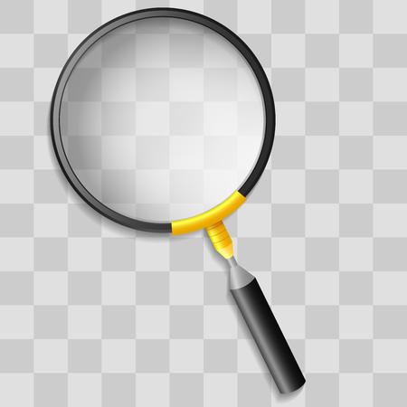 Ilustración de Realistic magnifying glass on transparency grid - Imagen libre de derechos
