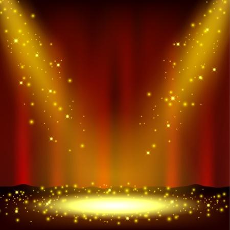 Illustration pour Spotlight shining with sprinkles falling - image libre de droit