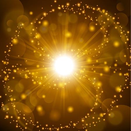 Illustration pour Golden shine with lens flare background - image libre de droit