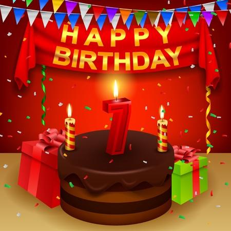 Happy 7th Birthday with chocolate cream cake and triangular flag