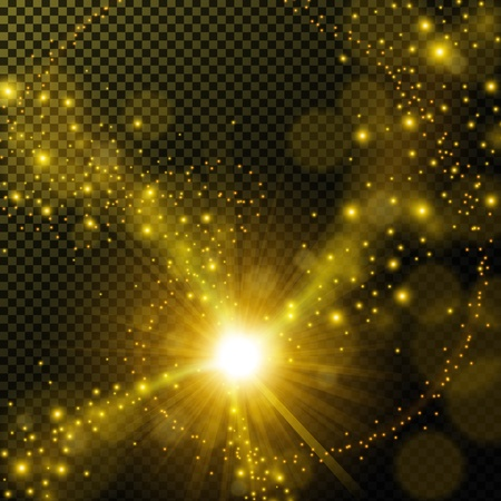 Ilustración de Golden shine with lens flare on transparent background - Imagen libre de derechos