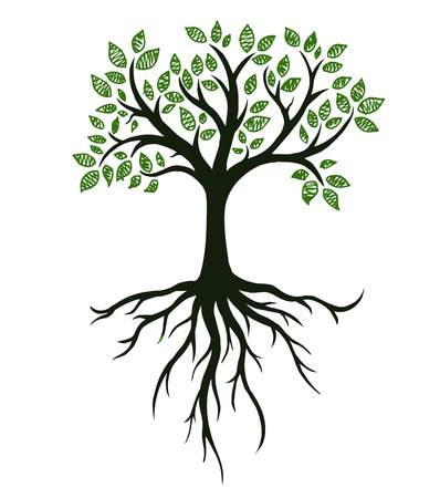 Illustration pour Tree symbol with roots, real hand drawing - image libre de droit
