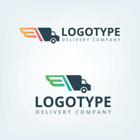 Photo pour Delivery company logo. Wings logotype. Delivery car. - image libre de droit